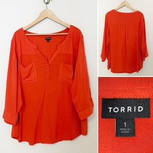 Torrid Tangerine 1/2 Button Down Blouse -SZ 1X